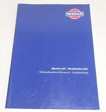 Taller de mano libro nissan maxima QX modelo serie a33 la carrocería de 01/2000