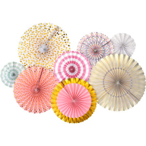 Pink & Gold Paper FANS 8 pcs Hanging Decor Birthday Party Baby Shower