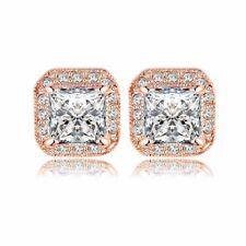 18K REAL ROSE GOLD FILLED SQUARE STUD EARRINGS MADE WITH SWAROVSKI CRYSTALS GIFT