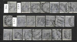 Stamps Australia Bulk KGV 3d Blue Heads x 21 Good Used/Fine Used 3 wm's