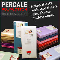 Percale Cotton Fitted Flat Valance Bed sheets Single Double King & Pillow Cases