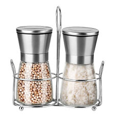 Salt and Pepper Grinder Set Stainless Steel Stand Spice Ceramic Mill Grinders