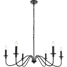 6 LIGHT WROUGHT IRON STYLE CHANDELIER DINING LIVING ROOM KITCHEN BEDROOM HALLWAY
