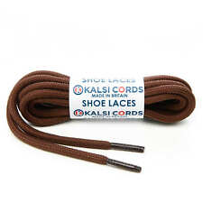 YORK BROWN ROUND CORD SHOE LACES STRONG THICK ROPE LACE PAIR SPORT TRAINER BOOT