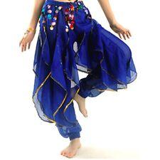 Belly Dance Costume Tribal Gold Coins Trouser Dancer Wavy Harem Pants 8 Colors