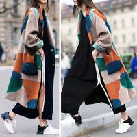 Women Wool Lapel Long Coats Trench Parka Jackets Overcoat Winter Warm Outwear