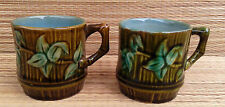 Lot de deux anciennes tasses en barbotine déco, florale,french antique pottery