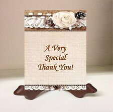 50 Thank You Note Wedding Cards Rose Lace Brown Burlap Rustic Country Envelope