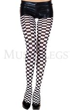 Checkered White Black Style Pantyhose Gothic Stockings Punk Goth Style
