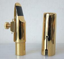 Gold Plated Alto Saxophone Mouthpiece +Ligature/Cap, #8