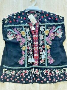 Johnny Was Talon Rayon Floral Tassle Black Top Tee Flower Embroidery XL NEW