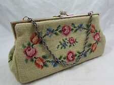 Vtg Floral Carpet Bag Tapestry Embroidered Needlepoint Petit Point Purse Handbag