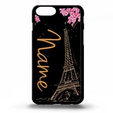 Eiffel tower paris vtg art personalised initials name custom phone case cover