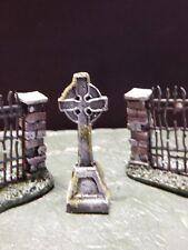 .Halloween TOMBSTONE ~ Celtic CROSS ~ for Dept 56 Village Display Platform base
