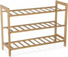 9HORN Bamboo Shoe Rack Organizer Wooden Bench Storage Shelf Stand 3-Tier Unit