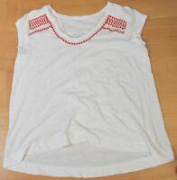 Woman's ANN TAYLOR LOFT White Blouse Top Cotton Short Sleeve Size Small S