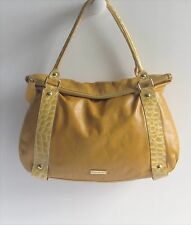 PULICATI Italy 2-Tone Leather & Croc Embossed Patent Leather Large Shoulder Bag