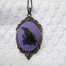 New listing Raven, Black Bird, Crow Cameo Goth Steampunk Necklace Pendant, Halloween, Witch