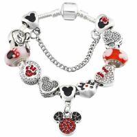 Mickey Mouse Charm Bracelet Minnie Mouse Pendant Beads Women Girld Child Bangle