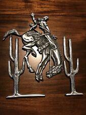 Vintage Cast Aluminum Cowboy Bronco Horse Western Wall Hanging Sign Mid Century