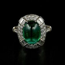 Spectacular Art Deco 5.0 Carat Colombian Emerald With 925 Sterling Silver Ring