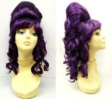 60s Beehive Wig Dark Purple Retro Go Go Vintage Drag Halloween Costume