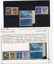 1942 REGNO P. AEREA PROPAGANDA DI GUERRA NON EMESSA MNH** CERT.