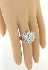 Grande 14k Oro Bianco e Rosa 4.0ctw Diamante Rotondo Branch Anello a Grappolo