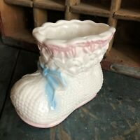 Vintage RELPO Ceramic Pink And Blue Baby Bootie Shoe Planter #5040