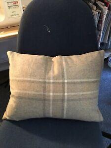 "D/Sided L Ashley Highland Check Truffle Fabric Cushion Cover 18"" X 14"" 65% Wool"