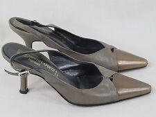 Roberto Capucci Metallic Silver & Bronze Leather Slingback Heels 4.5 B US EUC