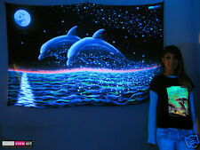 FULL MOON DOLPHINS Psychedelic Art UV Black Light Tapestry Wall Hanging Backdrop
