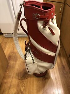 Beautiful VINTAGE  WILSON LEATHER GOLF BAG 3-WAY RED And WHITE