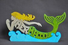 Blonde Mermaid Colorful Wooden  Puzzle Amish Scroll Toy  New Decoration
