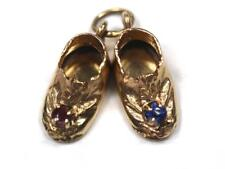 Pair Antique Baby Shoes One Ruby One Blue Sapphire 14K Yellow Gold 2.5 Grams