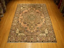 6.6 x 10  Hand Knotted Antique Persian Tabriz Wool Rug _ Vintage Mutted Colors