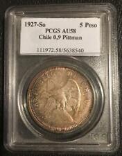 1927-So Chile 5 Pesos Silver Coin PCGS AU58