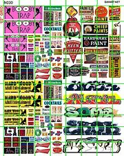 N030 DAVE'S DECALS URBAN SET #2 GRAFFITI STRIP CLUB BIKER SIGN PAINT SIGNS
