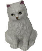 Vintage White Cat FIGURINE CERAMIC PORCELAIN Kitten Kitty Persian MCM Decor