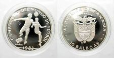 1982 Panama Large Silver  Proof 10 Balboas World Cup Soccer