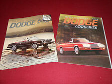 1984 DODGE 600 SALES CATALOG + '84 CONVERTIBLE BROCHURE / 2 For 1 Deal!