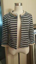 BOSTON PROPER Cropped Stripe Nautical Knit Jacket $149 - Size 4