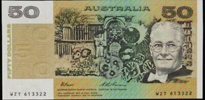 1993 Australian Mint CFU $50 WZP 752832 - Fraser Evans Paper Banknote issue r515