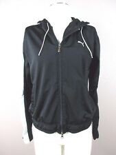 *PUMA* SIZE L WOMEN'S BLACK FULL ZIP HOODED ATHLETIC WORK OUT SWEATER W/POCKETS