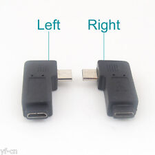 4pcs Micro USB 5Pin Male To Female Left Angle 90D Extension Adapter Connector