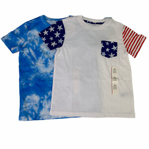 Cat & Jack Americana & Tie-Dye Boys Short Sleeve T- Shirt LOT OF 2  Choose Size