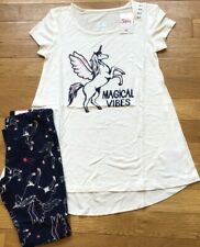 NEW 2pc JUSTICE Pegasus UNICORN Swingy Top Tee & Navy Leggings OUTFIT Sz 6 7 NWT