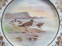 "ROYAL DOULTON SIGNED HART 9½"" HP BIRDS DISPLAY PLATE DUNLIN (Ref3487)"