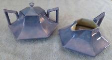 Rare B&C Limoges art deco large blue lusterware hexagonal sugar bowl & creamer