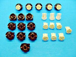 """15 White 4 LEDs Light Bulbs 1/2"""" Sockets Side Marker License Plate Dash Ford 194"""